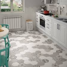 hexagon random pattern decorative tiles in black u0026 white colours