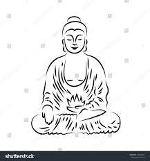 vector buddha line hand drawn sketch stock vector 436606603