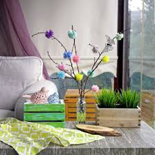 how to diy spring decor of the branches and the pompoms with their