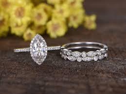 bridal ring sets 1 carat marquise cut moissanite bridal sets diamond wedding ring
