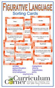 figurative language cards the curriculum corner 4 5 6