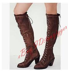s boots lace up low heel retro womens sheep leather suede low heel knee high boots