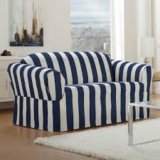 white and blue navi color for loveseat slipcover design for small
