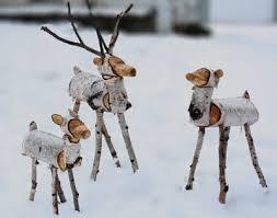 log reindeer rustic log reindeer medium size white birch deer by thelogbasket