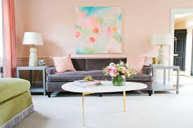 interior peach pink pastel living family room velvet grey purple
