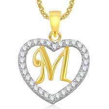 heart gold necklace diamonds images Buy meenaz gold plated 39 m 39 alphabet with chain in american diamond jpg