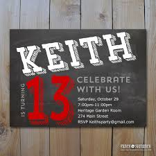 teen boy u0027s birthday invitation chalkboard design for