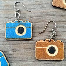 green tree earrings laser cut wood earrings green tree jewelry choose cinnamon
