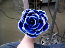 metal roses metal painted blue with white tips by pinkjack19 on deviantart