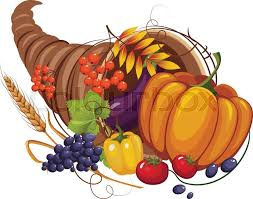 horn of plenty with vegetables and fruits stalks and autumn