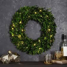 led light up boxwood wreaths west elm