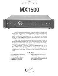 qsc audio stereo amplifier mx 1500 user guide manualsonline com