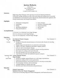 Acting Resume Special Skills Examples by Resume Examples Stage Manager Resume Template Theatrical