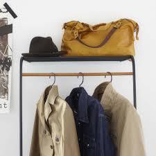 tower leaning slim coat hanger with shelf black yamazaki