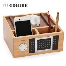 organiseur de bureau en bois juh une boîte de mouchoirs multifonctionnel porte serviettes en bois