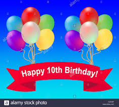 happy tenth birthday balloons meaning 10th celebration 3d