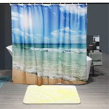 polyester sea beach waterproof shower curtain shower bath screen polyester sea beach waterproof shower curtain shower bath screen cover sheer fabric home bathroom decorative textiles in curtains from home garden on