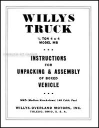 jeep instructions 1941 1945 willys military mb jeep reprint assembly instructions