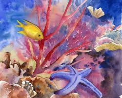 underwater starfish fish and coral original by baylesdesign