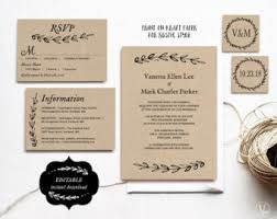 rustic wedding invitation templates wedding invitation template etsy
