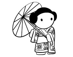 geisha lady u0027s umbrella coloring coloringcrew