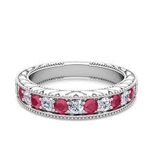 ruby band vintage diamond and ruby wedding ring band in 18k gold