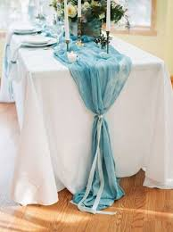 tulle table runner 60 wedding table runners that will wow your guests dusty blue