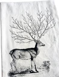 deer tree antler kitchen towel rustic dish towels by the