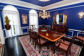 blue dining room ideas high window ceiling light chandelier dark
