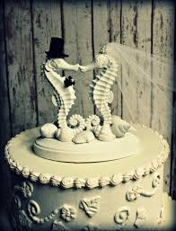 seahorse wedding cake topper kissing seahorse couple beach themed