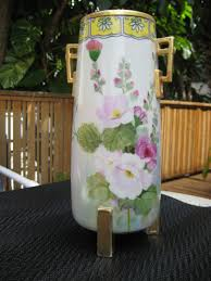 Hand Painted Vase Vintage Nippon Hand Painted Vase With Gold Leaf Estate Jewelry