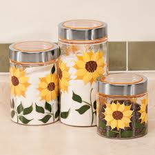 sunflower canisters set of 3 glass jars glass canisters