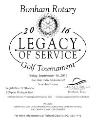 2016 golf tournament bonham rotary club