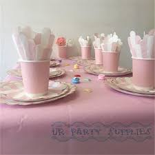 16 sets pink and gold tableware set with table cover paper