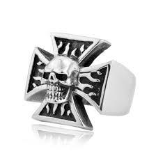 iron cross skull ring proud n loud