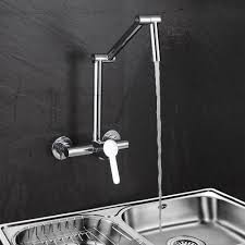 modern wall mount u0026cold articulating kitchen faucet 2 hole