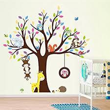Nursery Wall Mural Decals Elecmotive Forest Animal Monkey Owls Fox