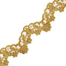 gold lace ribbon rhinestone metallic gold lace trim crafts and sewing 2 1 4 inch