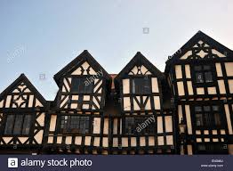 a row of tudor buildings in the historic market town of ludlow