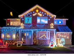 Decoration House Christmas Lights by Christmas Decorated House Lights Stock Photos U0026 Christmas