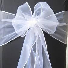 Organza Sashes 50 Pure White Organza Sash Chair Cover Bow Wedding Party Banquet