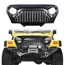 jeep wrangler front grill danti matte black gladiator vader front grill grid grille cover for