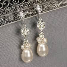bridesmaid pearl earrings rhinestone pearl cluster earrings wedding jewelry
