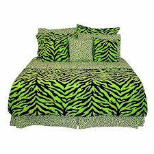 Zebra Print Duvet Cover Queen Size Lime Green Zebra Print Bed In A Bag Set Bed Bag