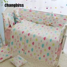 7pcs colorful clouds pattern baby bedding bumper crib liner cotton