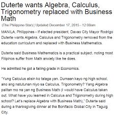 philippine basic education no more algebra says presidential