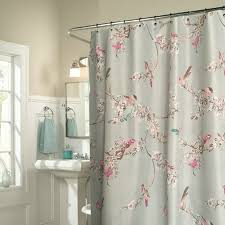 chic blue floral bird luxury shower curtains