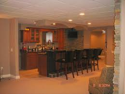 decor tile ceilings and recessed lighting with bar stools also