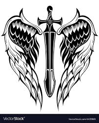 wings and sword royalty free vector image vectorstock