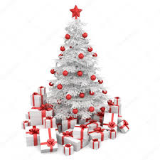 white and red isoloated christmas tree u2014 stock photo arquiplay77